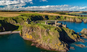 A spectacular ruined cliff top medieval fortress